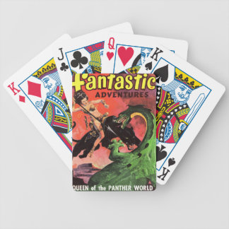 Panther vs Dinosaur Bicycle Playing Cards