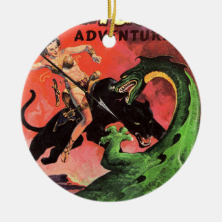 Panther vs Dinosaur Ceramic Ornament