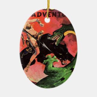 Panther vs Dinosaur Ceramic Ornament