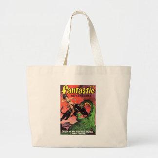 Panther vs Dinosaur Large Tote Bag