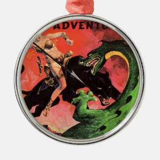 Panther vs Dinosaur Metal Ornament