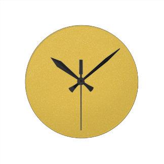 PANTONE Custard YELLOW with fine faux Glitter Round Clock