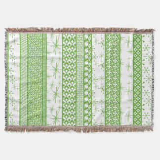 "Pantone ""Greenery"" with Retro Pattern Stripes Throw Blanket"