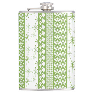 "Pantone's ""Greenery"" with Retro Pattern Stripes Hip Flask"