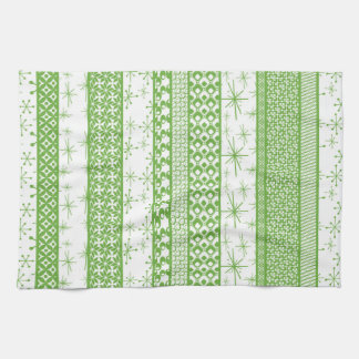 "Pantone's ""Greenery"" with Retro Pattern Stripes Kitchen Towel"