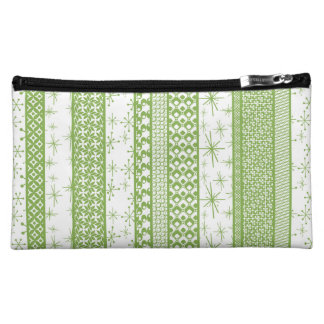 "Pantone's ""Greenery"" with Retro Pattern Stripes Makeup Bag"
