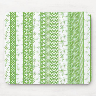 "Pantone's ""Greenery"" with Retro Pattern Stripes Mouse Pad"