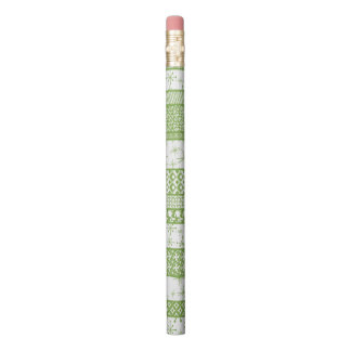 "Pantone's ""Greenery"" with Retro Pattern Stripes Pencil"
