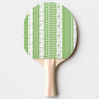 """Pantone's """"Greenery"""" with Retro Pattern Stripes Ping Pong Paddle"""
