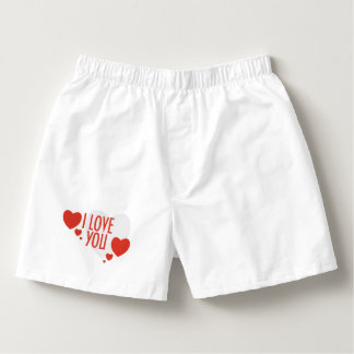 "Pants with Red Heart Shapes and text ""I love you"". Boxers"