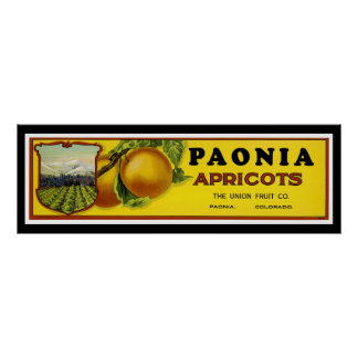 Paonia Apricots Label Art Poster