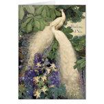 Paons et fleurs blancs cartes de vœux