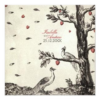 Paons vintages dans l'amour - mariage carton d'invitation  13,33 cm