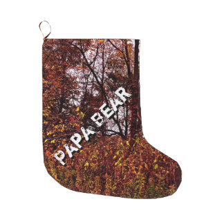 Papa Bear Autumn Camo Christmas Stocking