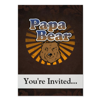 """Papa Bear, Cool Fathers Day Vintage Look 5"""" X 7"""" Invitation Card"""