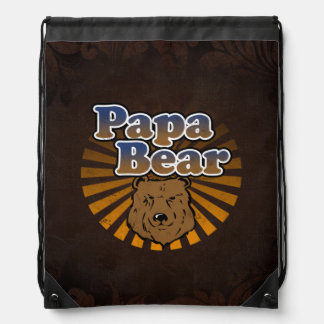 Papa Bear, Cool Fathers Day Vintage Look Cinch Bags