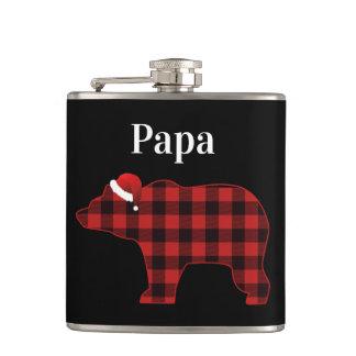 Papa Bear Cute Buffalo Plaid Christmas Hip Flask