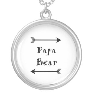 Papa Bear Silver Plated Necklace