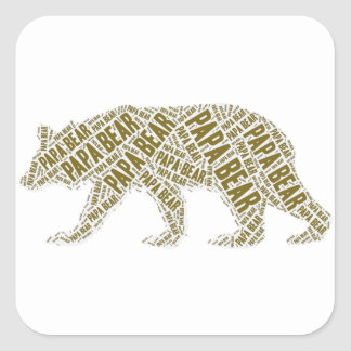 Papa Bear Square Sticker