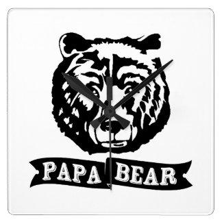 Papa Bear Square Wall Clock
