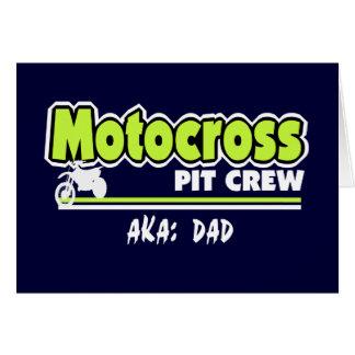 Papa d'équipe du stand de ravitaillement de motocr carte de vœux