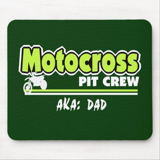 Papa d'équipe du stand de ravitaillement de motocr tapis de souris