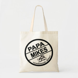Papa Mikes Homemade Jerky Black Logo Budget Tote Bag