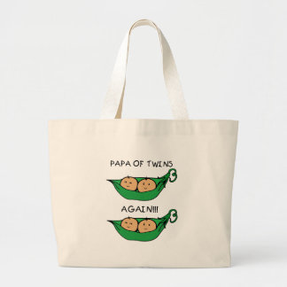 Papa  of Twins Again Pod Canvas Bags