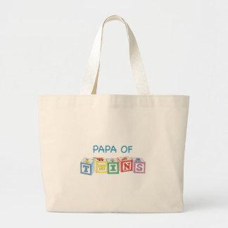 Papa  of Twins Blocks Jumbo Tote Bag