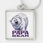 Papa Polar Bear Silver-Colored Square Keychain
