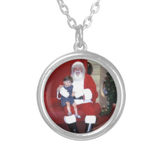 Papai_noel_-_santa_claus_ Silver Plated Necklace