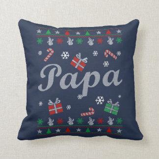 Papa's Ugly Christmas Throw Pillow