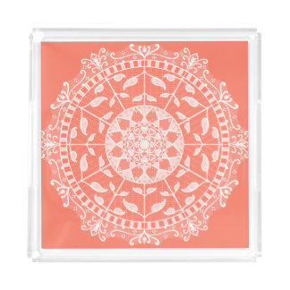 Papaya Mandala Acrylic Tray