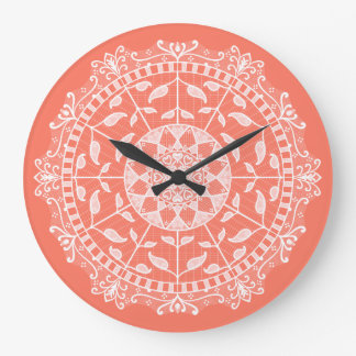 Papaya Mandala Large Clock