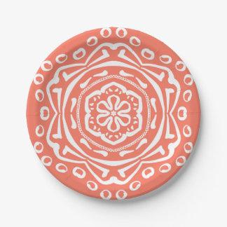 Papaya Mandala Paper Plate