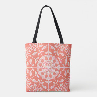 Papaya Mandala Tote Bag