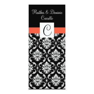 Papaya Monogram Damask Wedding Menu Card