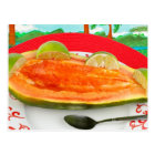 Papaya with Lime with Tropical View Painting Postcard