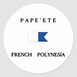Pape'ete French Polynesia Alpha Dive Flag Classic Round Sticker