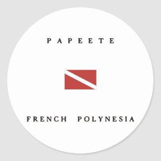 Papeete French Polynesia Scuba Dive Flag Classic Round Sticker