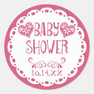 Papel Picado Baby Shower Hot Pink Fiesta Envelope Classic Round Sticker
