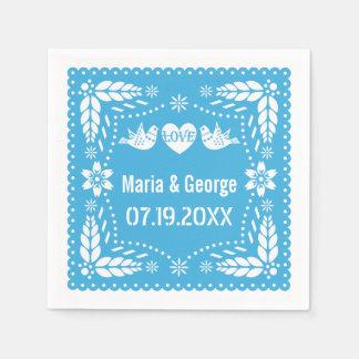 Papel picado love birds blue wedding fiesta disposable napkin