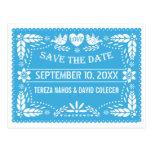 Papel picado love birds blue wedding Save the Date