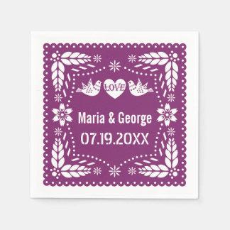 Papel picado love birds purple wedding fiesta disposable napkins