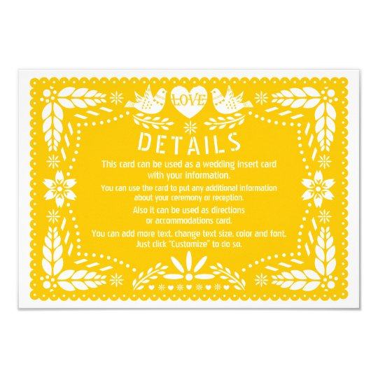 Papel picado love birds yellow wedding details card