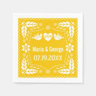 Papel picado love birds yellow wedding fiesta disposable napkin