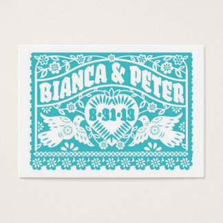 Papel Picado Lovebirds Wedding Banners Info Card