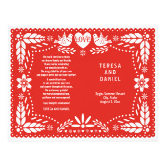 Papel Picado red wedding fiesta folded program Flyer