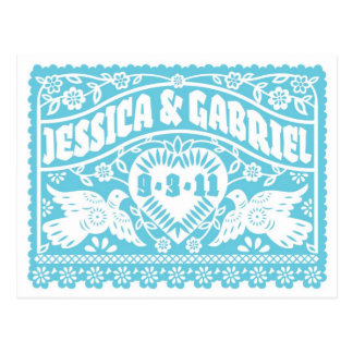 Papel Picado Save the Date postcard - Turquoise