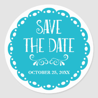 Papel Picado Save the Date Sky Blue Fiesta Wedding Round Sticker